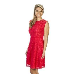 London Times Red Lace Sleeveless Dress Size 14